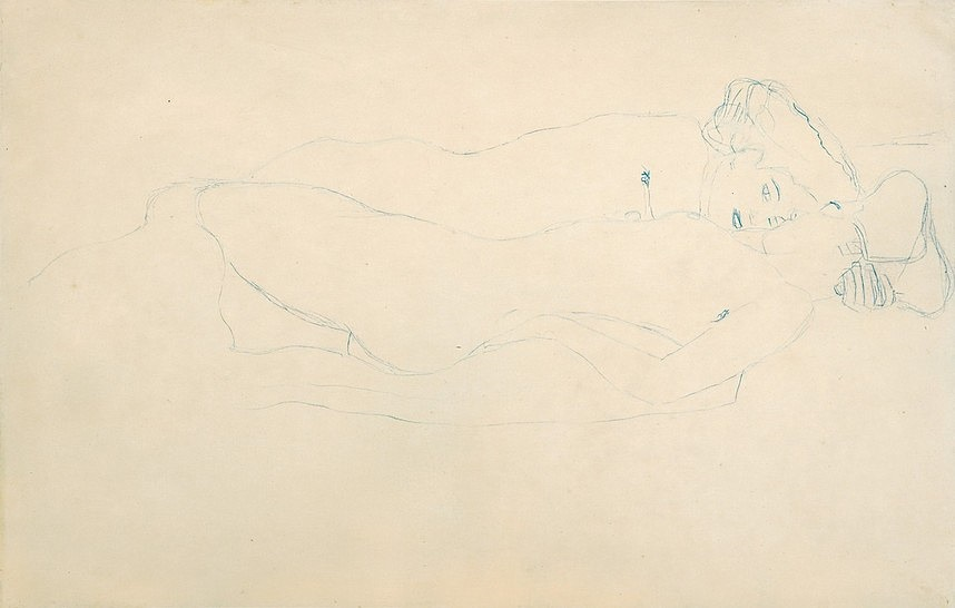 Gustav Klimt Freundinnen nach rechts liegend, 1905/06, Studie für das Gemälde ,Wasserschlangen II', 2. Zustand 1907 Blauer Farbstift auf Papier