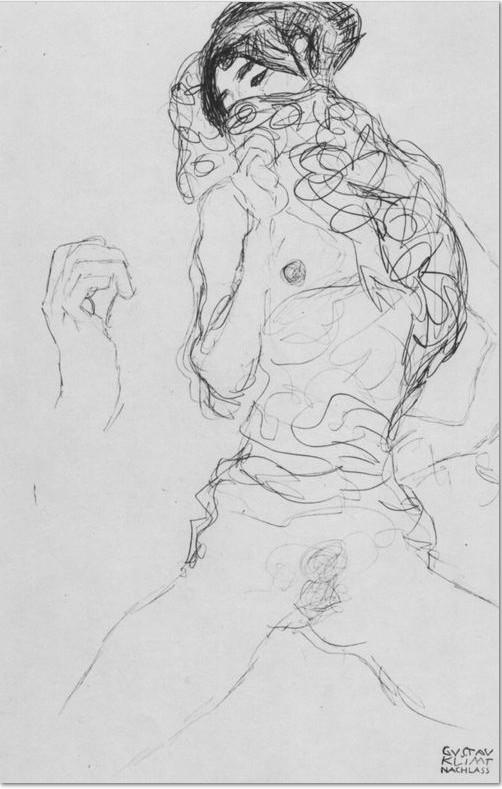 Gustav Klimt: 'Halbakt mit teilweise verdecktem Gesicht und Handskizze', 1916, Studie für das Gemälde »Die Braut«, Wien, Österreichische Galerie