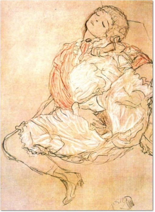 Gustav Klimt, Liegende mit gespreizten Beinen