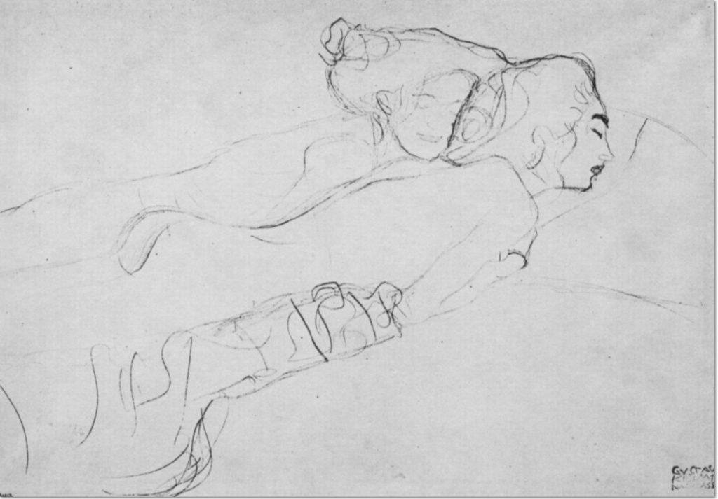 Gustav Klimt, Zwei auf dem Bauch liegende weibliche Akte, 1906, Roter Farbstift, auf Papier, Figurenstudien zum Gemälde »Wasserschlangen«, Wien, Österreichische Galerie