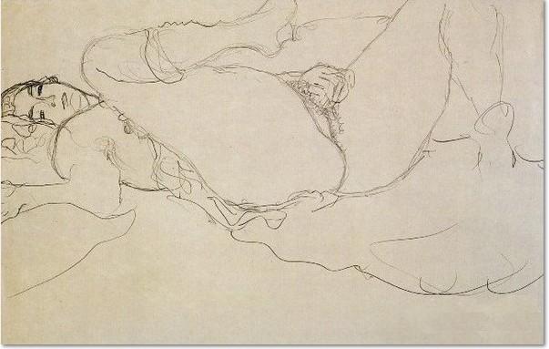 Gustav Klimt liegender Akt masturbierend