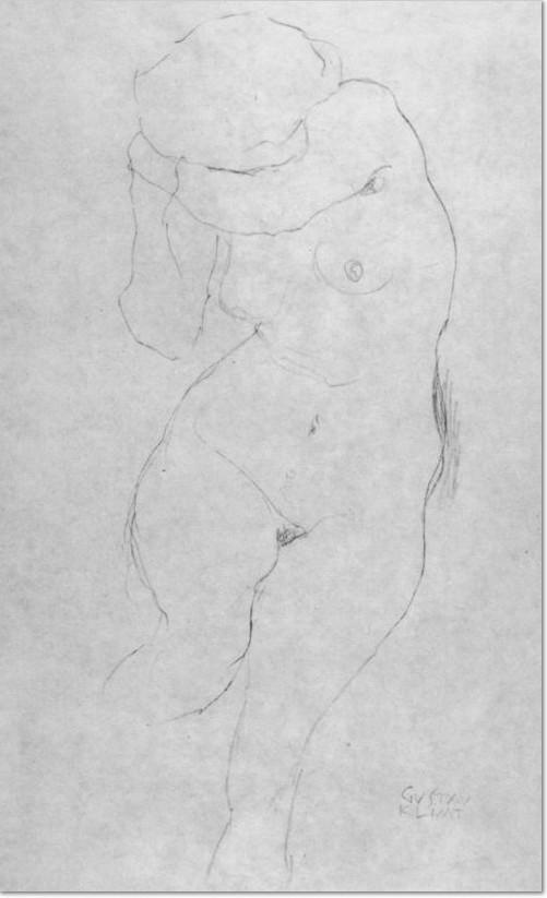 Gustav Klimt, weiblicher Akt nach vorn , mit dem linken Arm das Gesicht verdeckend, 1913, Aktstudie im Zusammenhang mit dem Gemälde »Jungfrau« Bleistift auf Papier