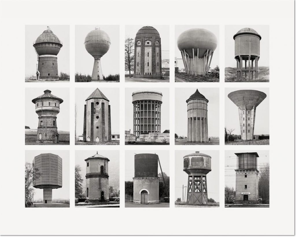 "Wassertürme (Water Towers) 2007 Image IV from Typologies Digital pigment print (Ditone) on photo paper, 90 x 112 cm (35½ x 44""). Edition of 40, signed ""B. + H. Becher"" by Hilla Becher and numbered on verso."