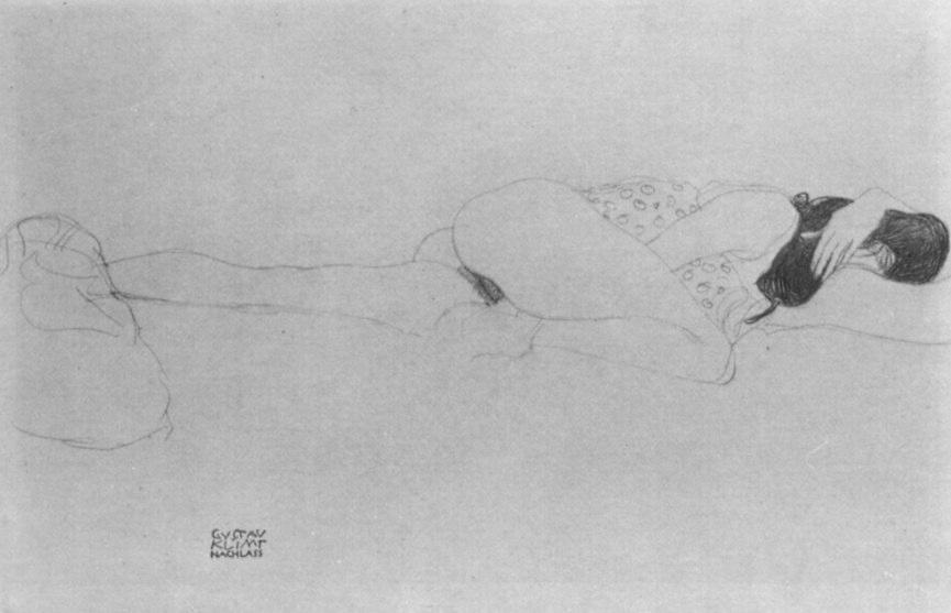 Gustav Klimt Liegender weiblicher Halbakt, den Kopf in die Beuge des linken Armes gelegt, 1905