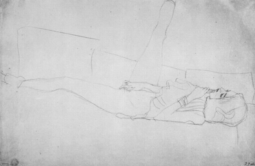 Gustav Klimt, Liegender weiblicher Halbakt mit aufgestelltem rechtem Bein, 1905