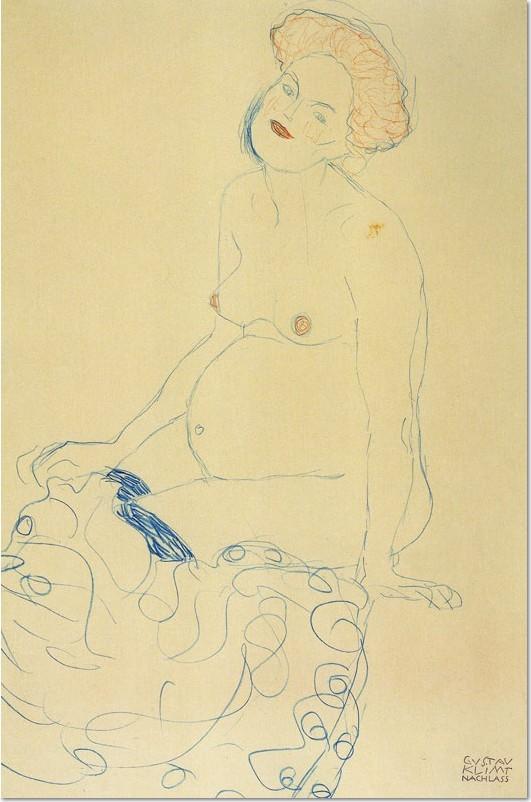 Gustav Klimt, Schwangere Frau nach rechts schauend, 1910, Buntstift auf Paipier