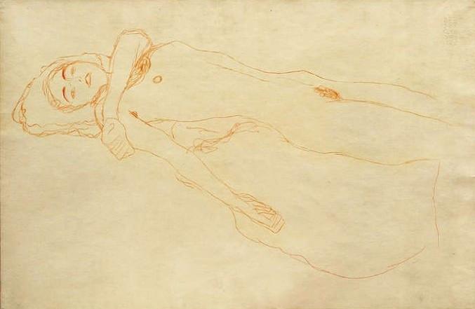 Gustav Klimt nach links liegender Akt 1907, Rötel auf Papier