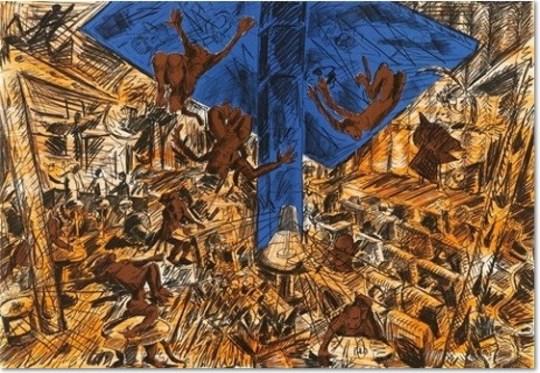Jörg Immendorff - Farblithographie (drei Farben) auf Rives-Bütten, lim. Auflage 100 sign. u. num. 70 x 100 cm