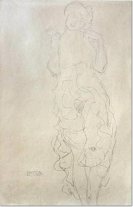 Stehender Halbakt von vorne mit erhobenen Unterarmen 1917