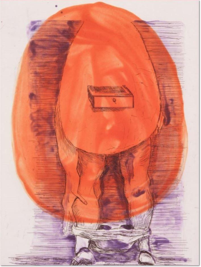 Martin Kippenberger, Eierfrau, 1996 Aquatinta, Radierung Motiv: 39,5 x 29,5 cm Papier: 57 x 44 cm Auflage von 24 + 6 AP