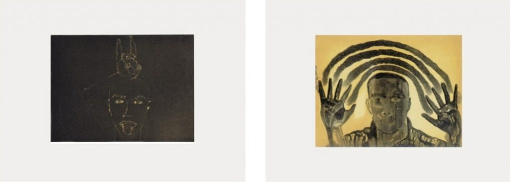 Francesco Clemente Faith and Hope 1987 Two etchings with aquatint and softground, 45 x 62 cm (17¾ x 24½ in.) each, edition of 40, each signed and numbered.