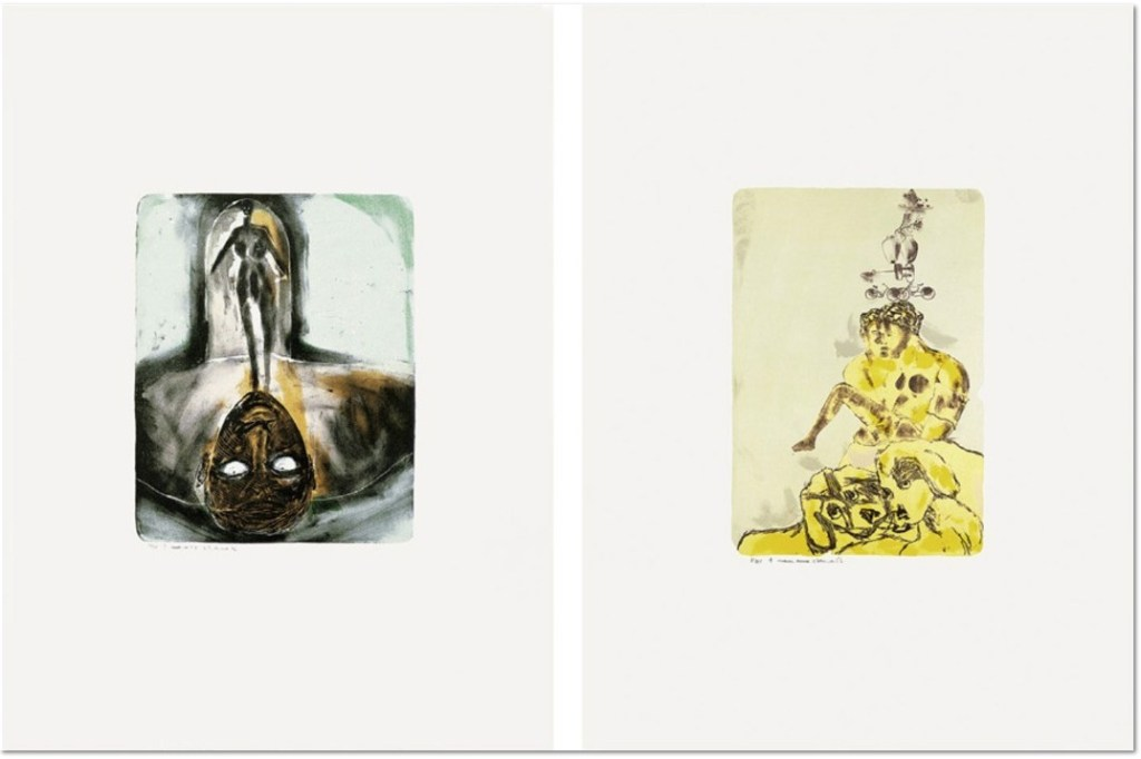 Francesco Clemente - Untitled 1984 Set of 2 lithographs on rag paper, 108 x 77 cm (43 x 30 in.) ea., edition of 25, signed and numbered.