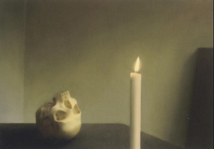 """Gerhard Richter: 'Schädel mit Kerze"""", Offsetdruck nach dem gleichnamigen Ölgemälde von 1983, Werkverzeichnis 547-2. Format: 65 x 43 cm"""