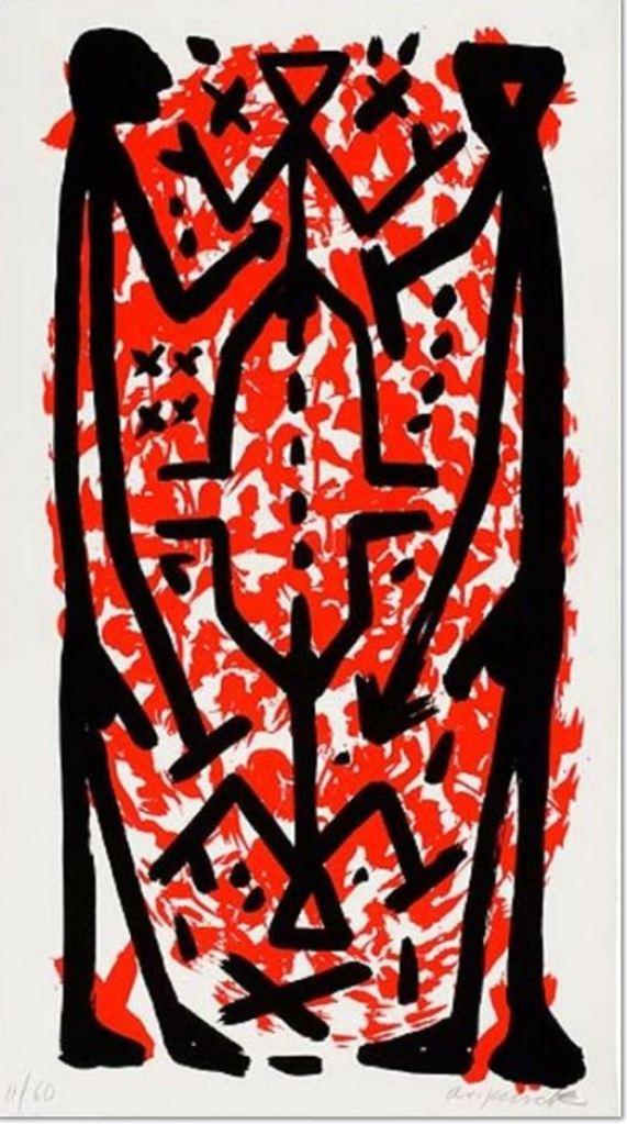 A. R. Penck: 'Standart Hoch I', 1997, Serigrafie auf Hahnemühle-Bütten, signiert, nummeriert, lim. Auflage 60 Exemplare, Blattformat: 107,5 x 60 cm