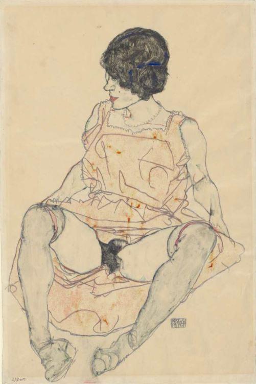 Egon Schiele, Sitzende Frau mit hochgeschobenem Kleid, 1914, Bleistift, Aquarell, Deckfarben mit proteinhaltigen Bindemitteln, auf Japanpapier (Albertina, Wien)