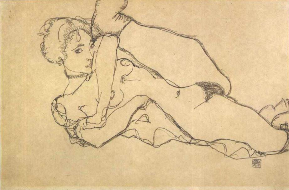 """Egon Schiele:""""Liegender Akt mit angezogenen linken Bein"""", 1914"""