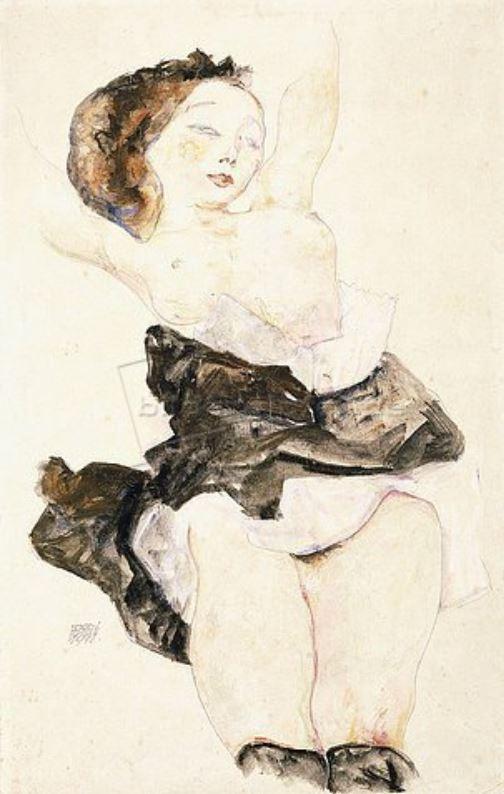 Egon Schiele, Liegendes junges Mädchen, 1911, Aquarell und Gouache,über Bleistift auf Papier