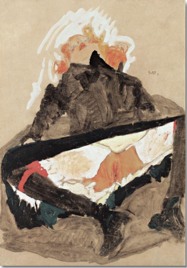 """Egon Schiele: """"Mädchen in schwarzem Kleid mit gespreizten Beinen"""", 1910 © Leopold Museum, Wien. Kunstdruck oder Leinwanddruck"""