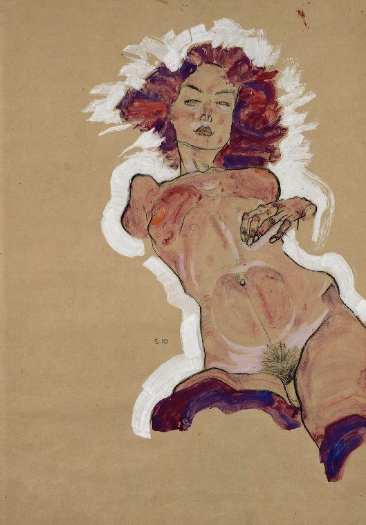 Egon Schiele, weiblicher Akt, 1910
