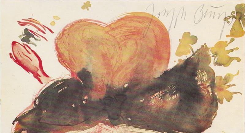 Joseph Beuys - Mädchenkopf mit blauer Schleife und Schmetterlingen, 1985
