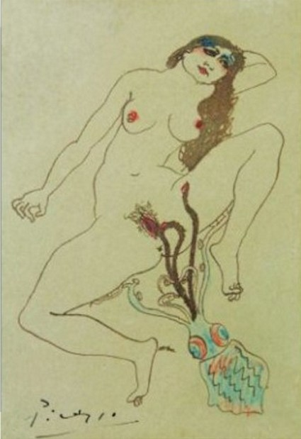 "Pablo Picasso: ""Dessin érotique"", Barcelona, 1903, Pen, brown ink & colored pencils on card, 13,2 x 8,9 cm, Collection: Christie's."