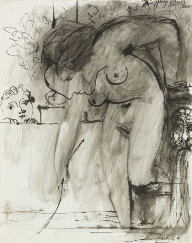 Pablo Picasso - Femme au bain, 1933 Pen and black ink and grey wash, on cream wove paper. Boisgeloup 9 Avril XXXIII