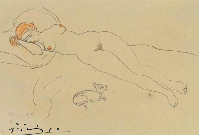 Pablo Picasso - Femme nue au chien signed 'Picasso' (lower left) pen and brown ink and colored wax crayons on card 3 5/8 x 5 ¼ in. (9.1 x 13.3 cm.) Drawn in Barcelona in 1902