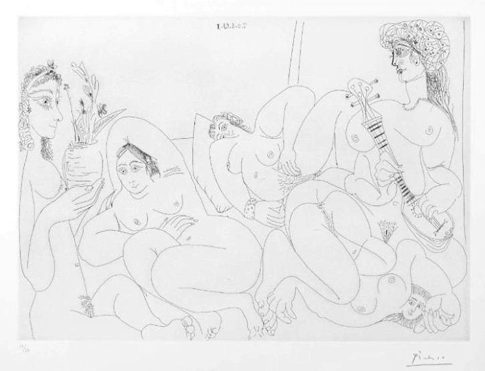 Pablo Picasso - Suite 347 - Etching 20 August 1968 I (L.289)