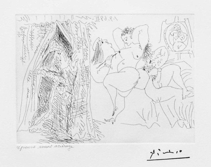 Pablo Picasso - Suite Vollard - Raphael et la Fornarina VIII: Le Pape Entre avec un Sourire Patelin 1