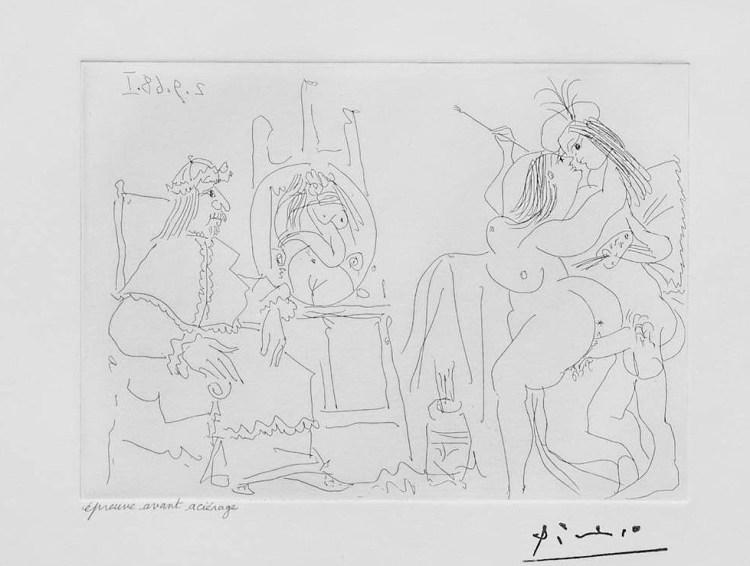 Pablo Picasso Raphael et la Fornarina X: Le Pape a Fait Apporter son Fauteuil, 1968