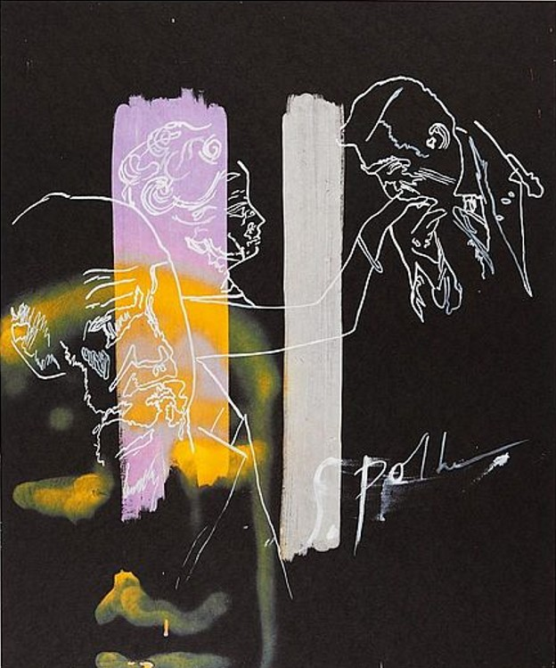 Sigmar Polke: 'Handkuss', 1995 Offsetlithographie auf Hahnemühle - Büttenkarton, nummeriert, signiert, datiert, Bildformat: 64,5 x 51,5 cm, Blattformat: 75 x 55 cm, lim. Auflage: 75 Exemplare