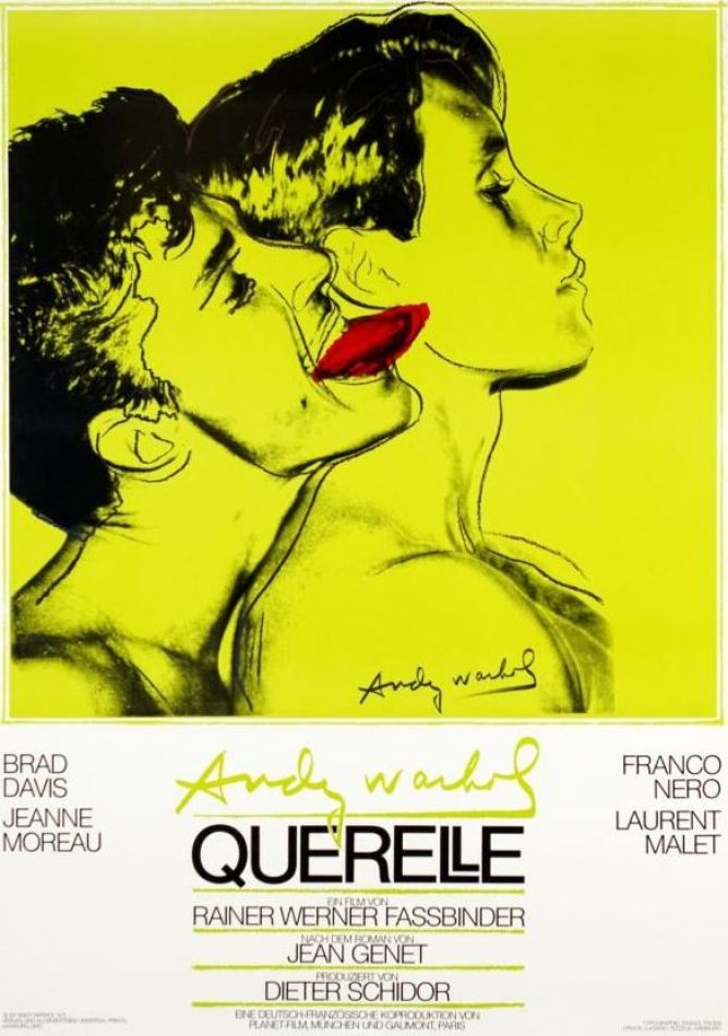 """Andy Warhol: """"Querelle, Yellow"""", high-quality art print, 70 x 99 cm.First edition poster for the film """"Querelle"""", 1982, directed by Rainer Werner Fassbinder, starring Brad Davis, Franco Nero and Jeanne Moreau."""