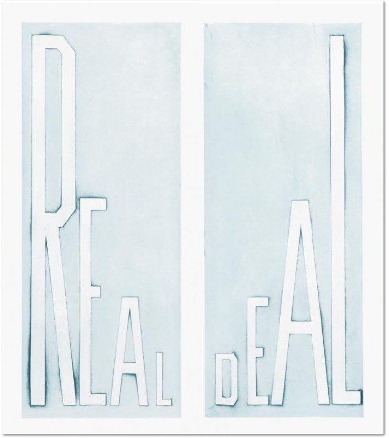 Ed Ruscha, Real Deal, 2014 Medium Flat bite etching printed in blue Image Size 29½ x 25½ Paper Size 36½ x 31½ Edition Size 40 Signed and numbered by the artist Publisher Crown Point Press - Printer Emily York
