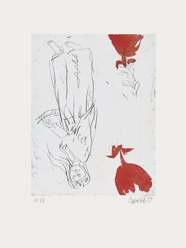 "Georg Baselitz Frau am Abgrund, zwei Rosen 1999 Etching/aquatint on rag paper, 66 x 50,2 cm (26 x 19¾""), edition of 50, signed and numbered."