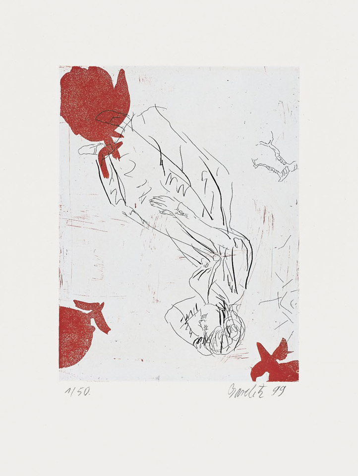 "Georg Baselitz - Melancholie, drei Rosen 1999, Etching/aquatint on rag paper, 66 x 50,2 cm (26 x 19¾""), edition of 50, signed and numbered."