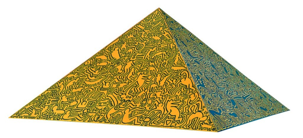 Keith Haring, Pyramid Sculpture, 1989, Anodized aluminum sculpture, 144 x 144 x 75 cm (56½ x 56½ x 29½ in.), signature and number etched on verso. Edition of 15.