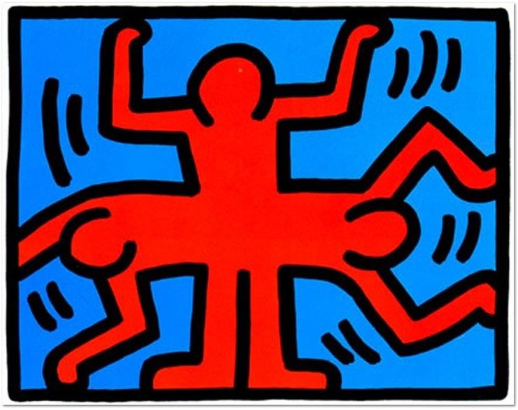 Keith Haring: ' POP SHOP VI (4)' 1989, Screenprint, Certificate of Authenticity on verso. Estate stamped, dated, numbered and signed in pencil by the Executor for the Keith Haring Estate, Julia Gruen.