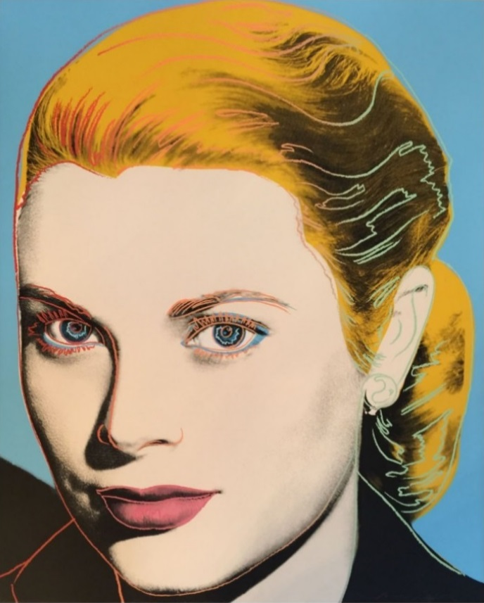 Andy Warhol, Grace Kelly, 1984, F&S II.305, hand signed and numbered in pencil. Printer Rupert Jasen Smith, New York. Publisher Institute of Contemporary Art, University of Pennsylvania, Philadelphia, Pennsylvania with the consent of the Princess Grace Foundation (U.S.A.) New York. Andy Warhol Prints Catalogue Raisonne 1962-1987 Feldman/Schellmann Fourth Edition II.305, edition of 225, Screenprint on Lenox Museum Board, 40″ x 32″ (101.6 cm x 81.3 cm),
