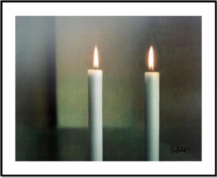 "Gerhard Richter: ""Zwei Kerzen ( Two Candles)"", 1982 / 2012, Offset print after the oil painting of the same title from 1982, Catalogue Raisonné: 512 -13. handsigned by the artist on the right bottom, size: 68 x 55 cm"