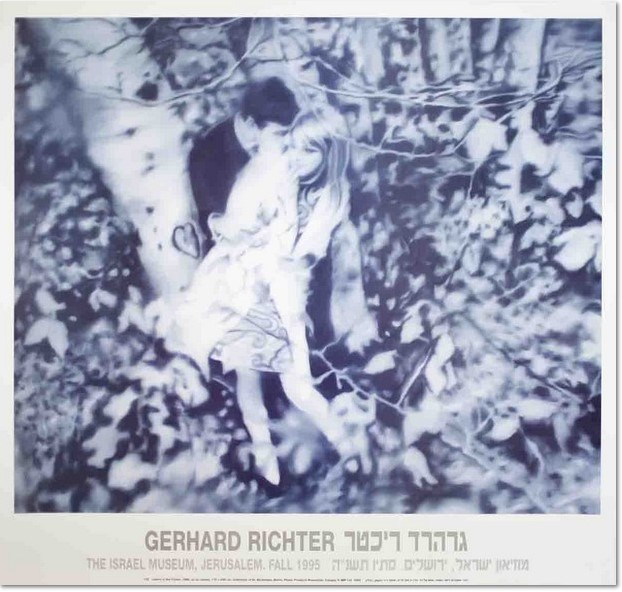 """Gerhard Richter: """"Liebespaar im Wald"""" (Lovers in the Forest), 1995, official poster from The Israel Museum, Jerusalem, Israel, edition of 500, published for the exhibition: Gerhad Richter – Paintings, vom Sept. 19 – Dec. 3. 1995, offset print after the oil painting of the same title from 1966, Catalogue Raisonné: 122, size: 68 x 72 cm"""