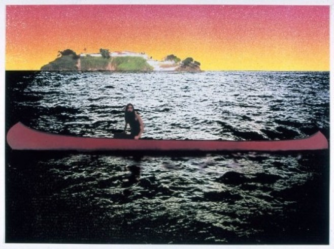 "Peter Doig: ""Canoe – Island"", 2000, screenprint in 12 colors on 300 g/m² Somerset Tub Paper, handsigned, dated, numbered, edition of 300, printed by the Coriander Studios, London. Size: 75 x 100 cm"