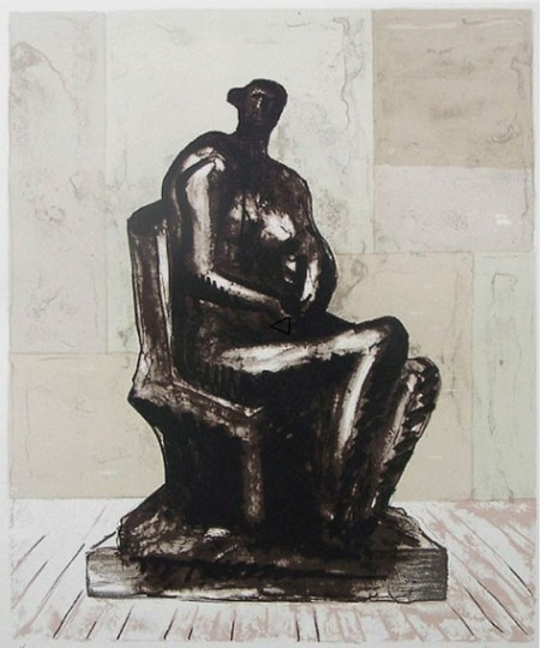 Henry Moore: 'Seated Figure', 1973, Lithograph in colours on T H Saunders, signed in pencil and numbered, edition of 75, size: Image: 34 x 28 cm, Sheet: 64.5 x 55 cm. Reference: Cramer 292, Printed by: Curwen Prints Ltd, London