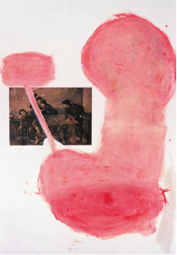 "Julian Schnabel - Le Tango II 1991 Etching, aquatint, printed over collage, on rag paper, 198 x 137 cm (78 x 54""). Edition of 48, signed and numbered."