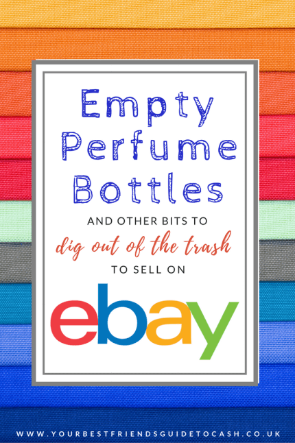 Empty perfume bottle and other bits to dig out the trash and sell on eBay