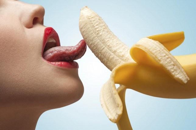 tongue on banana
