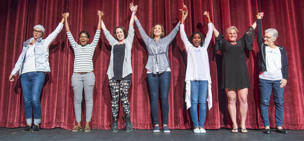 Robin Scholz/The News-Gazette Participants practice there curtain call during rehearsal for Thats What She Said at the Virginia Theatre in Champaign on Monday, Oct. 10, 2016.L-R-Kerry Rossow, Gianina Baker, Mary Enright, Peggy Prichard, Ashley Morgan, Stacey Cole and Debbie Hensleigh.