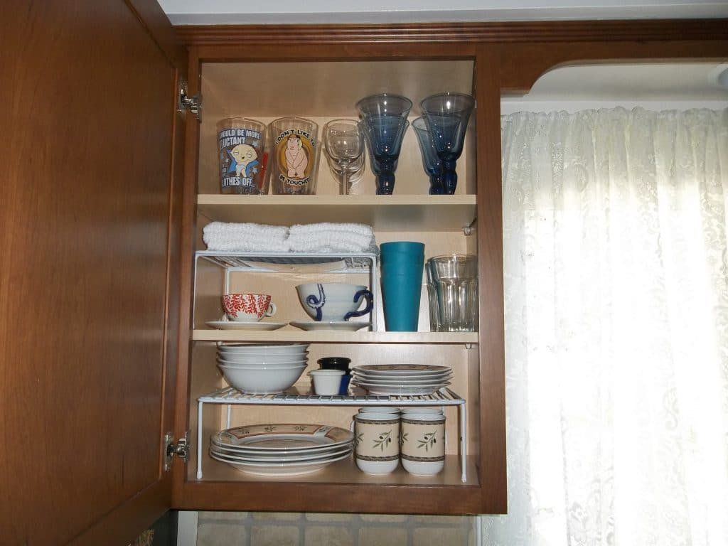 kitchen cabinet cleaner recipe home depot kohler faucet organize cabinets how we got rid of 99 dishes