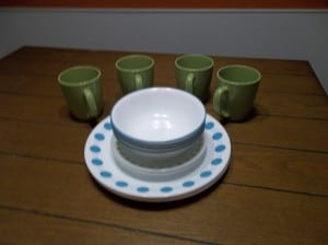 Our new corelle dinnerware set shown here with stacked.
