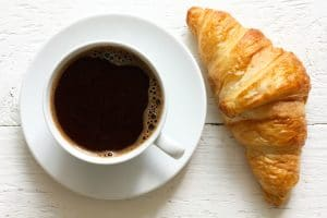 Croissant and coffee.