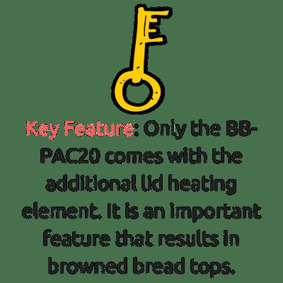 zojirushi bb-pac20 vs bb-cec20 key feature lid heating element